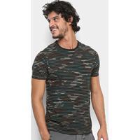 27d28e6e49 Camiseta Replay Camuflada Listras Masculina - Masculino-Verde Militar