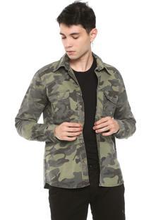 Camisa Sarja Rock&Soda Reta Militar Verde