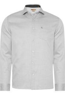 Camisa Masculina Fio Tinto Maquinetado - Branco E Preto