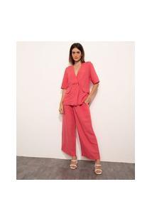 Calça Wide Pantalona Alfaiataria Com Pregas Cintura Alta Mindset Rosa