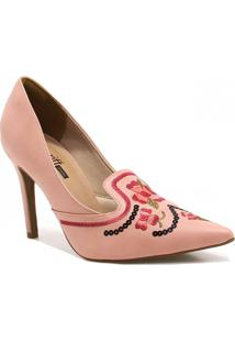 Sapato Zariff Shoes Scarpin Bordado Rosa