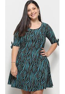 Vestido Blomma Estampado Plus Size - Feminino-Azul
