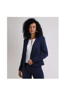 Blazer Feminino Básico Acinturado Com Bolsos E Botões Azul Marinho