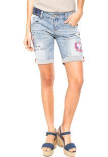 Bermuda Jeans Desigual Bordado Azul