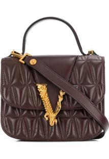 Versace Virtus Quilted Shoulder Bag - Marrom