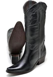 Bota Couro Texana Country Click Calçados Cano Longo Bico Fino Feminina - Feminino-Preto