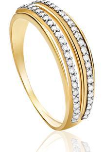 Anel Em Ouro Amarelo 18K Com Diamante - Vitoria 17
