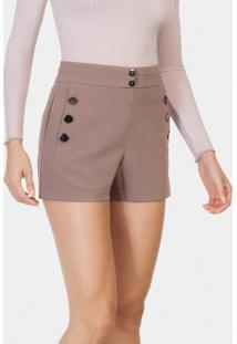 Shorts Cintura Alta Tecido Botões Marrom Cogumelo - Lez A Lez