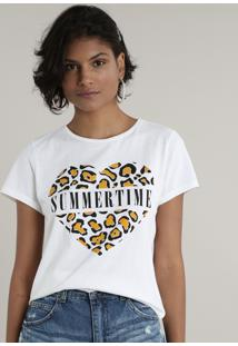 "Blusa Feminina ""Summer Time"" Animal Print Manga Curta Decote Redondo Off White"