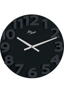 Relógio De Parede Números Grandes Preto 30 Cm