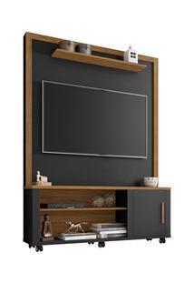 Estante Home Theater Para Tv Até 55 Pol. Smart Preto Fosco/Cinamomo -