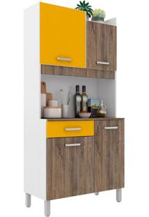Cozinha Compacta Malaga 4 Pt 1 Gv Rústico E Amarela