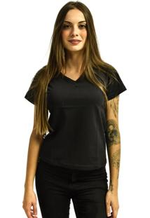 Camiseta Rich Young Gola V Básica Lisa Simples Malha Preta