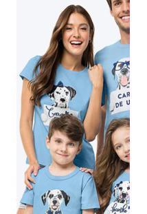 Pijama Azul Claro Sustentável Feminino Listrado Mãe