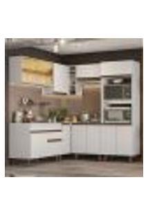 Cozinha Completa De Canto Madesa Reims 402001 Com Armário E Balcão - Branco
