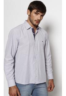 Camisa Slim Fit Listrada - Azul & Branca - Vip Reservip Reserva