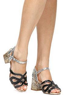 Sandália Shoestock Glitter - Feminino-Preto