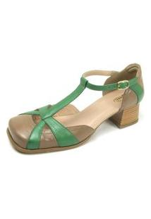 Sandalia Miuzzi Couro Salto Baixo Grosso Feminina Leveza Verde 33 Verde