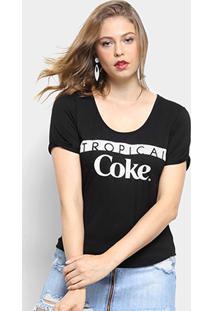 Camiseta Coca-Cola Estampada Aplicação Feminina - Feminino-Preto