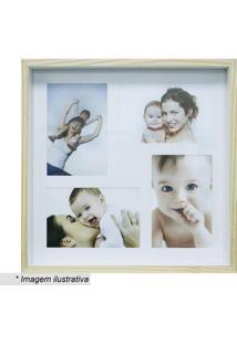 Painel Color Wood Para 4 Fotos- Bege Claro & Branco-Kapos