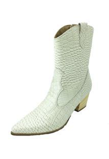 Bota Antonietta Crocodilo Off-White