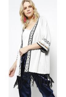 Kimono Em Tricã´- Off White & Preto- Ahaaha