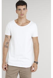 Camiseta Masculina Longa Manga Curta Gola Canoa Off White
