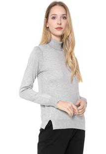 2c5c192599826 Kanui. Suéter Gola Alta De Grife Feminino Cinza Trico Jeans Calvin Klein  Tricot
