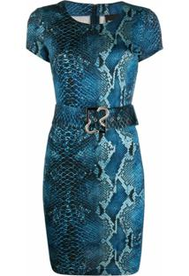 Just Cavalli Vestido Com Cinto E Estampa Pele De Píton - Azul