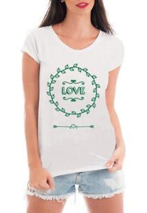 Blusa Criativa Urbana T-Shirt Love - Feminino-Branco