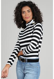 Blusa Feminina Listrada Com Botões Manga Longa Gola Alta Branca