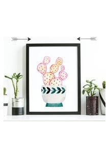Quadro Decorativo Com Moldura Cacto Pink Preto - 20X25Cm