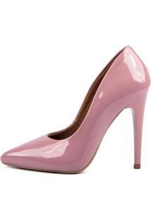 Scarpin Verniz Di Scarp Salto Alto Leve Festa Feminino - Feminino-Rosa Escuro
