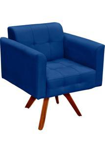 Poltrona D'Rossi Decorativa Giratória Gran Elisa Base Madeira Suede Azul Royal