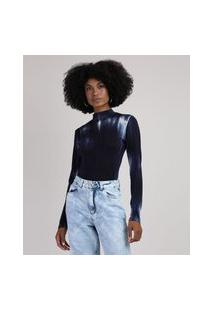 Blusa Feminina Canelada Tie Dye Manga Longa Gola Alta Azul Marinho