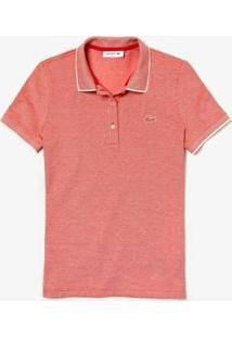 Camisa Polo Lacoste Slim Fit Feminina - Feminino-Vermelho+Off White
