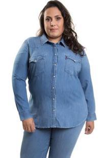 ... Camisa Levis Feminino Western Plus Size - Feminino-Azul 7e04e98dfcf