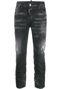 Dsquared2 Calça Jeans Cintura Média Com Efeito Destroyed - Preto