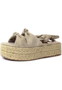 Sandália Flatform De Corda Damannu Shoes Emma Amêndoa