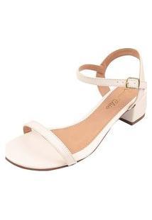 Sandália Salto Grosso Bloco Rosa Chic Calçados Sandália Clássica Confortável Dia A Dia Branco
