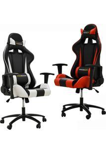 Kit 02 Cadeiras Gamer Giratória Reclinável Com Regulagem De Altura Pro-V Sport Pu Preto/Branco E Vermelho - Gran Belo