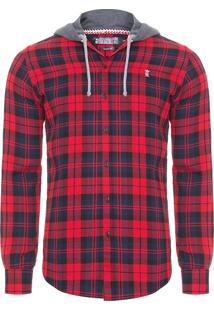 Camisa Masculina Xadrez Madras Capuz - Vermelho
