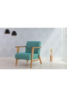 Poltrona Pequena Com Braços E Pés Palito Tecido Azul Turquesa - Verniz Amendoa \ Tec.930 - Lótus 73X72X83 Cm