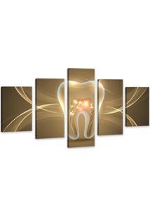 Quadro Oppen House 75X125Cm Canvas Dente Dourado Clínicas Odonto Decorativo