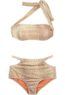 397359ecccaf R$ 720,00. Farfetch Biquíni Embutir Sem Bojo Vazado Bege Veludo Elastano Adriana  Degreas Praia Hot Neutro - De Pants