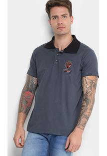 Camisa Polo Gangster Malha Bordado Gola Friso Masculina - Masculino