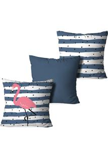 Kit 3 Capas Para Almofadas Decorativas Stripes Flamingo