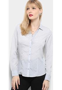 Camisa Manga Longa Aishty Mini Print Feminina - Feminino-Azul Claro