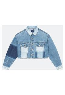 Jaqueta Cropped Jeans Em Patchwork | Blue Steel | Azul | P