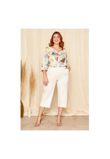 Calça Pantacourt Almaria Plus Size Planchet Bolso-Faca Off-White